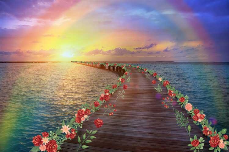 Regenbogenbrücke mit Blumen